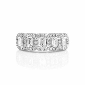 Center Of My World Emerald Cut Halo Ring