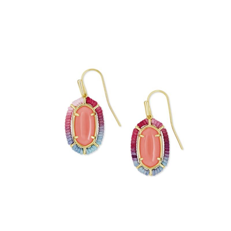 Kendra Scott THREADED LEE DROP EARRING GOLD CORAL ILLUSION