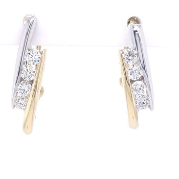 14kt 2-Tone Bypass Channel Earrings