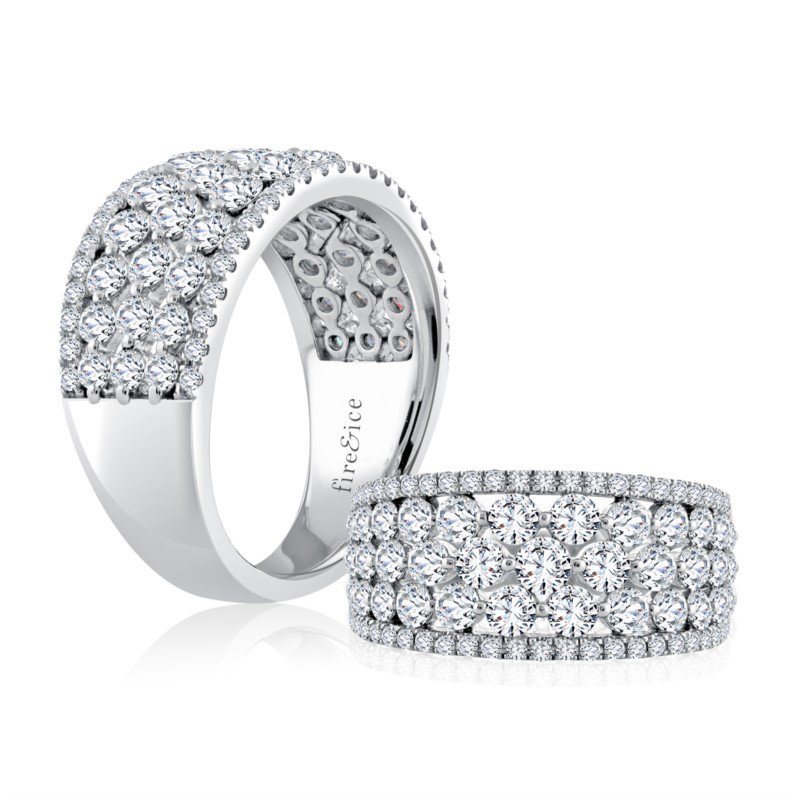 Fire & Ice Diamonds Fire & Ice 5-Row Fashion Ring - 2Cttw