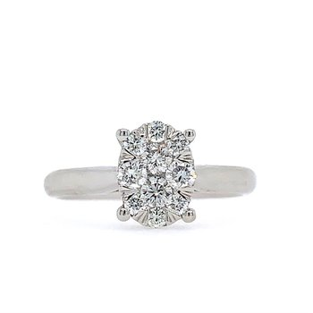 Composed Oval Solitaire Ring