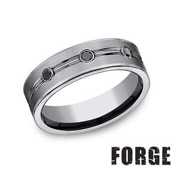 7MM Tungsten Band with 0.20TW Black Diamonds