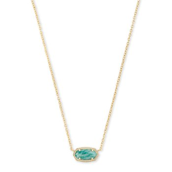 Elisa Necklace Gold with Dark Teal Amazonite