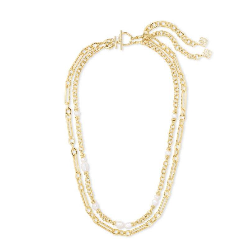 Kendra Scott MOLLIE MULTI STRAND NECKLACE GOLD WHITE PEARL