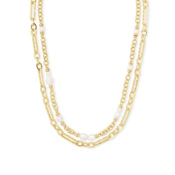 MOLLIE MULTI STRAND NECKLACE GOLD WHITE PEARL