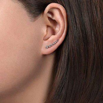 14K White Gold Graduated Round Diamond Ear Climber Earrings