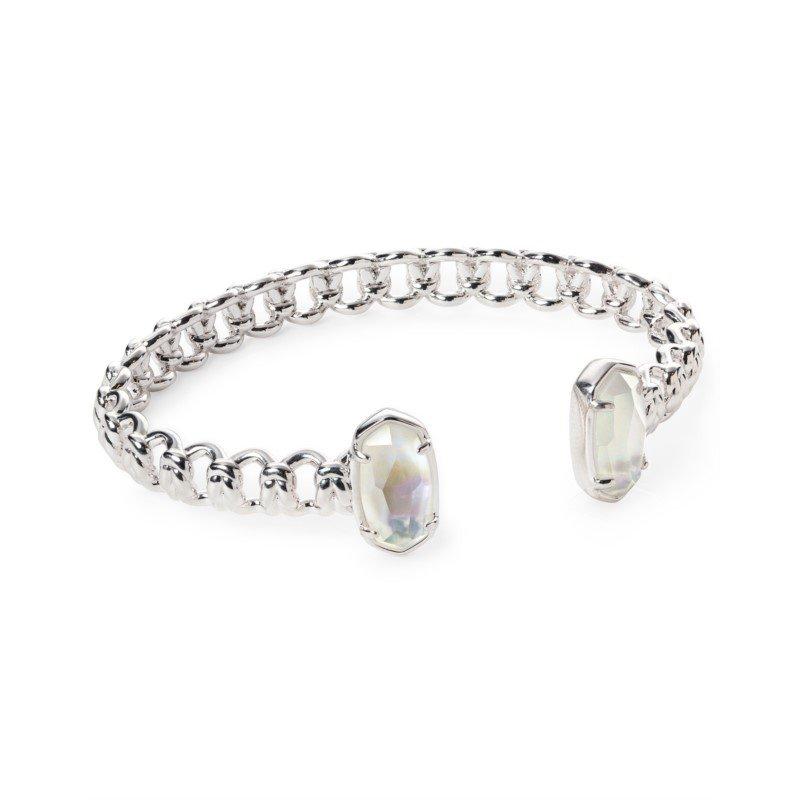 Kendra Scott Macrame Elton Silver Cuff Bracelet In Ivory Mother-Of-Pearl