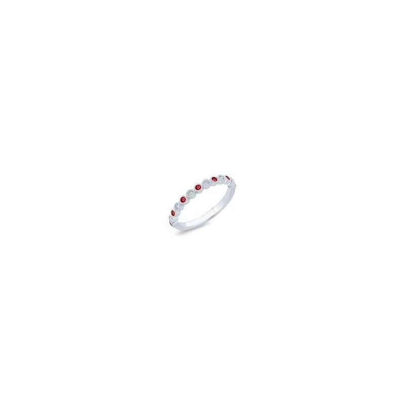 Lasker Gemstone Beaded Bezel Stackable Birthstone Ring