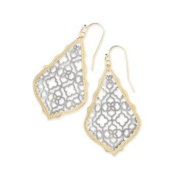 Addie Gold Drop Earrings In Silver Filigree Mix