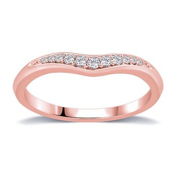 Curved Diamond Band In Rose Gold