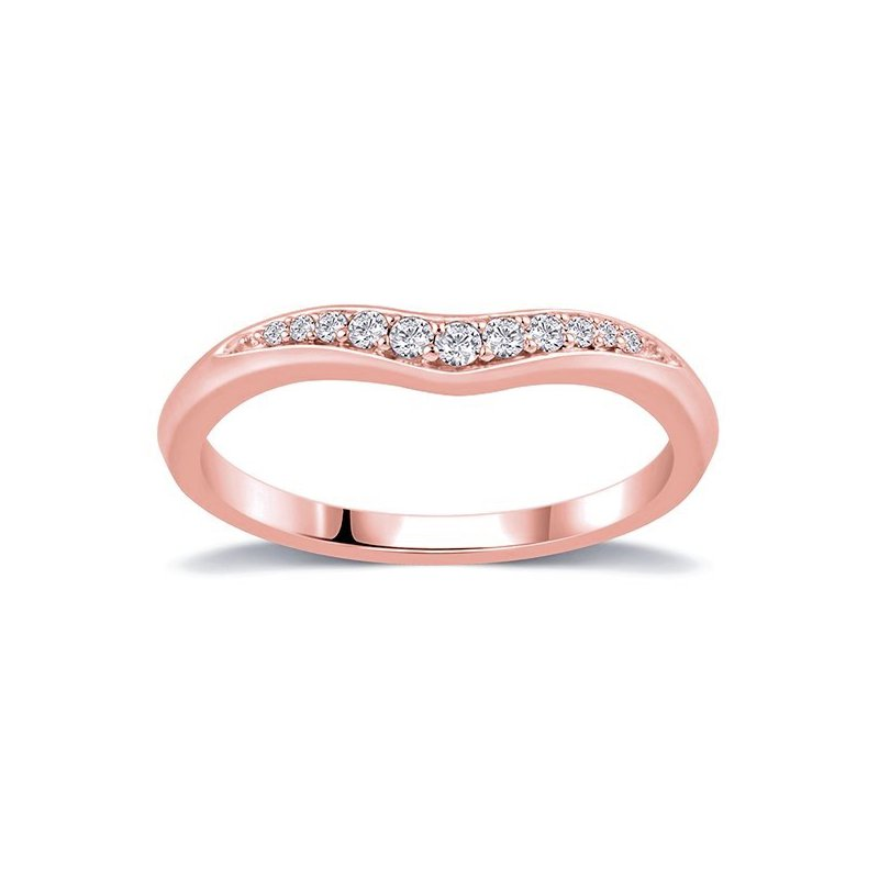 Lasker Bridal Curved Diamond Band In Rose Gold