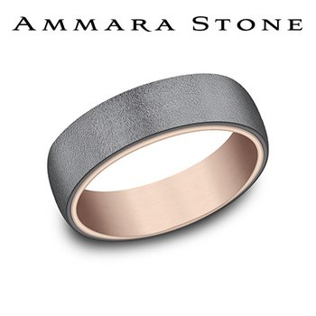 Amara Stone - 14KT Rose Gold & Tantalum Band