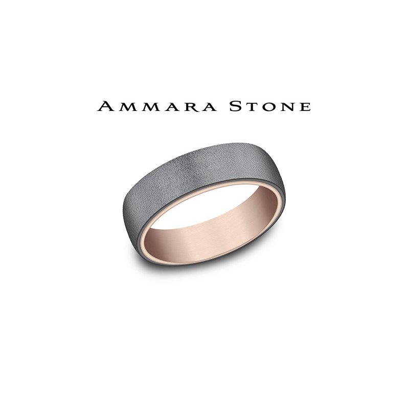 Lasker Men's Amara Stone - 14KT Rose Gold & Tantalum Band