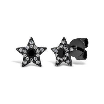 Black & White Diamond Star Earrings