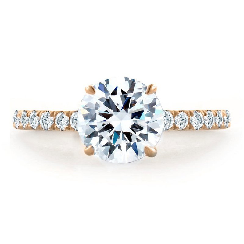Lasker Bridal Pave Engagement Ring with Fire & Ice Round Diamond