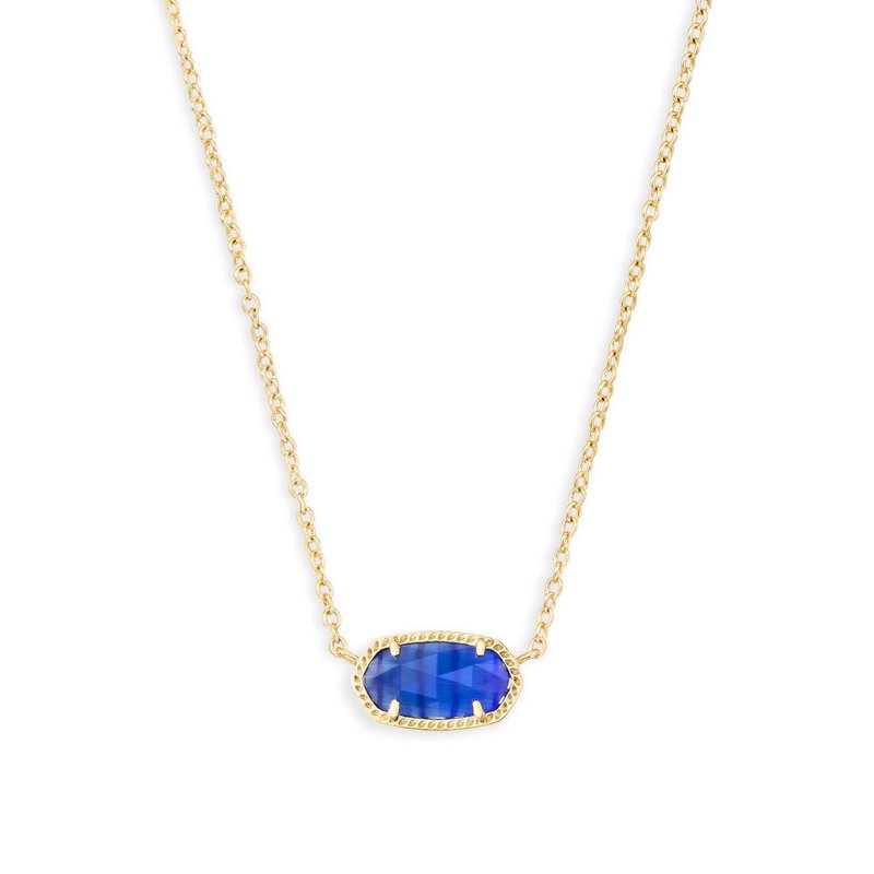 Kendra Scott Elisa Gold Pendant Necklace In Cobalt Cat's Eye