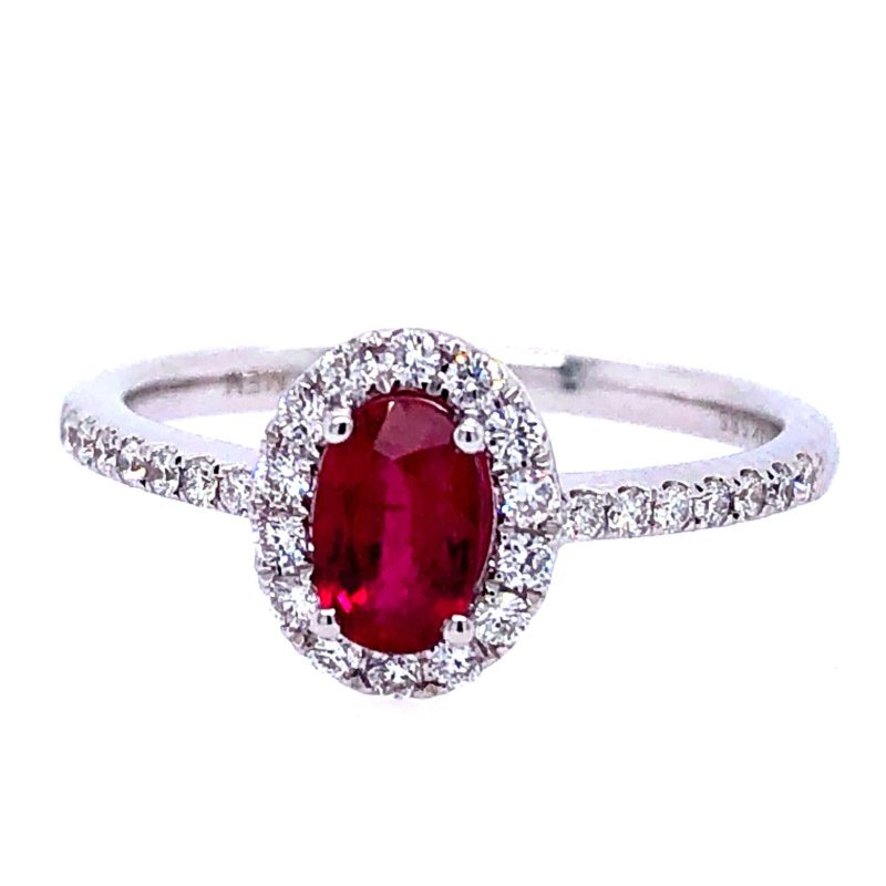 Lasker Gemstone Oval Ruby Halo Ring