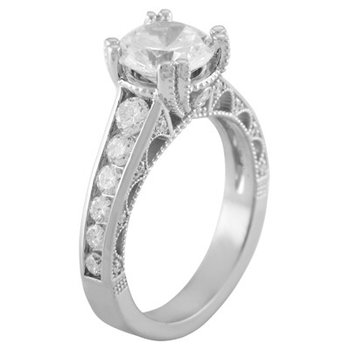 Engagement Ring Mounting with Channel Set Diamonds