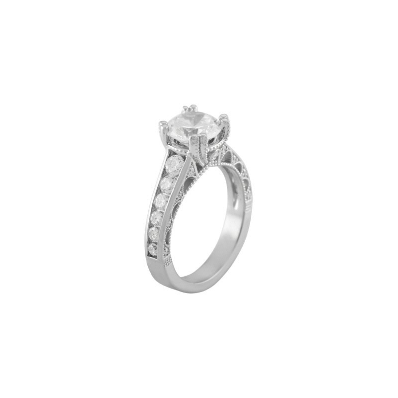 Lasker Bridal Engagement Ring Mounting with Channel Set Diamonds