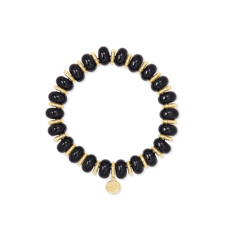 Kendra Scott Rebecca Gold Stretch Bracelet In Black Agate