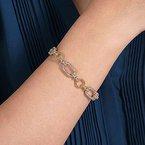 Gabriel Fashion 14K Yellow and White Gold Diamond Bracelet with Alternating Links