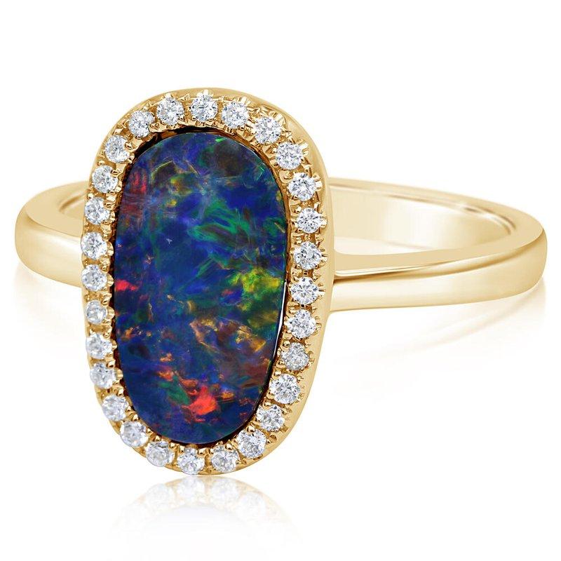 Lasker Gemstone Opal Halo Ring