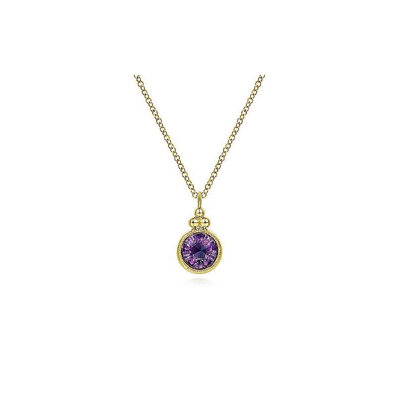 Gabriel Fashion 14K Yellow Gold Round Amethyst Pendant Necklace