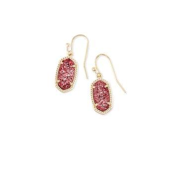 Lee Gold Drop Earrings In Raspberry Drusy