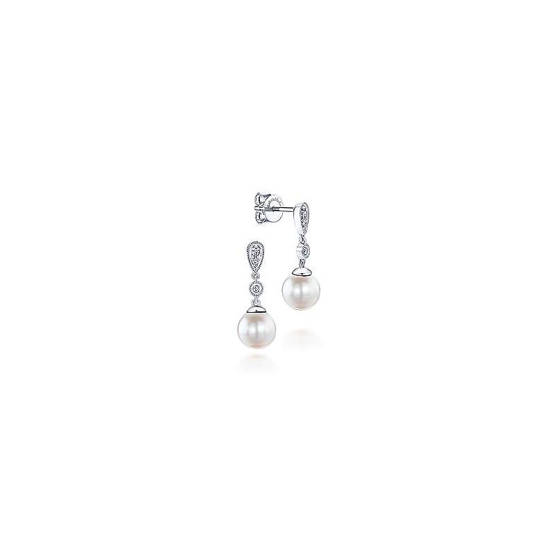 Gabriel Fashion 14K White Gold Vintage Inspired Style Diamond Pearl Drop Earrings