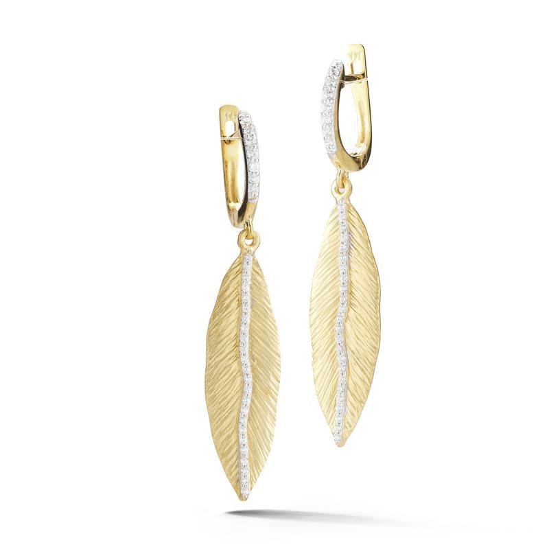 Lasker Gold Fashion Diamond Accent Leaf Drop Earrings