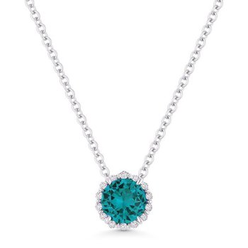 Created Paraiba & Diamond Halo Pendant