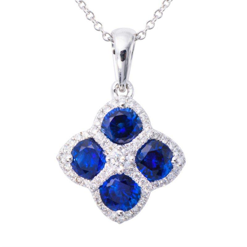 Lasker Gemstone Sapphire Flower Pendant