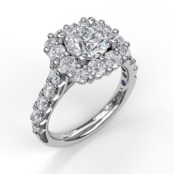 Square Shaped Halo Engagement Ring Mounting