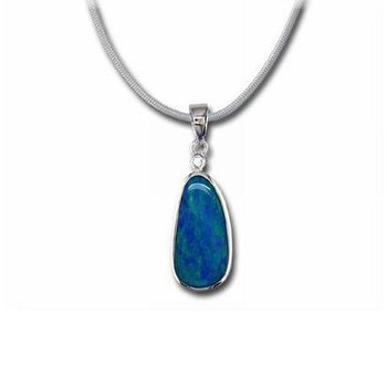 Boulder Opal Doublet and Diamond Pendant