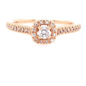 Petite Halo Ring In Rose Gold
