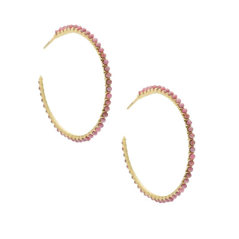 Kendra Scott BIRDIE 14K YELLOW GOLD PLATED HOOP EARRINGS IN PINK RHODONITE