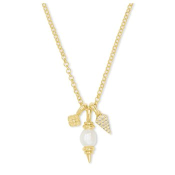 Demi Yellow Charm Necklace In White Baroque Pearl