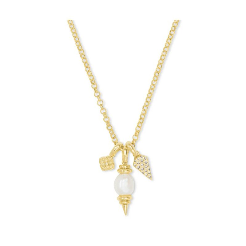Kendra Scott Demi Yellow Charm Necklace In White Baroque Pearl