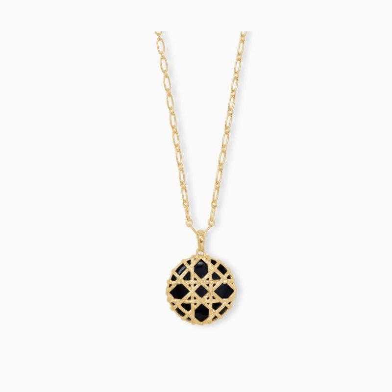 Kendra Scott Kendra Scott Natalie Yellow Long Pendant Necklace In Black Obsidian