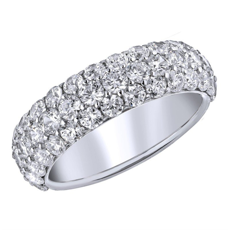 Lasker Bridal 3-Row Diamond Pave Band - 1CTTW