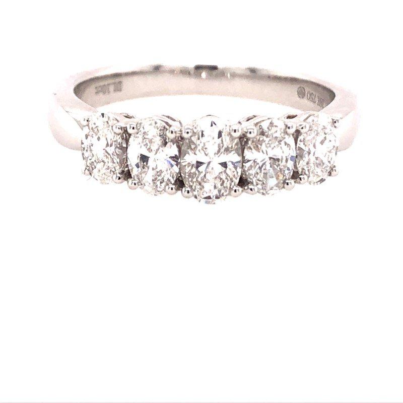 Lasker Bridal Graduated 5 Oval Diamond Ring