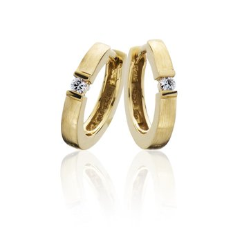 14x2mm Yellow Gold Huggie Diamond Hoops