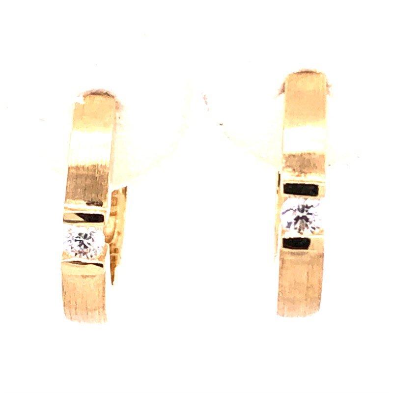 Lasker Diamond Fashion 14x2mm Yellow Gold Huggie Diamond Hoops