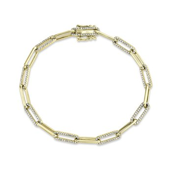Paper Clip Link Diamond Bracelet