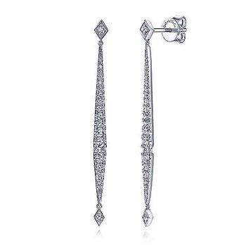 14K White Gold Long Diamond Bar Drop Earrings