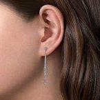Gabriel Fashion 14K White Gold Long Diamond Bar Drop Earrings