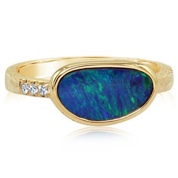 Australian Opal Doublet and Diamond Ring