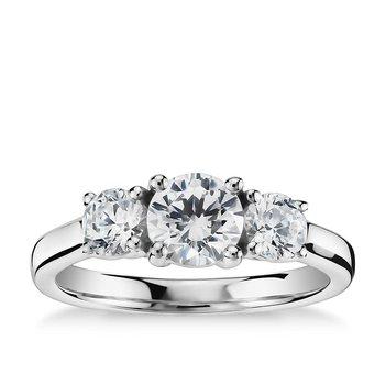 Past-Present-Future Diamond Ring - 3/4ct Center Diamond