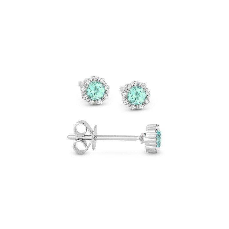 Lasker Gemstone Aquamarine & Diamond Stud Earrings