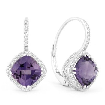 Drop Earrings with Created Alexandrite